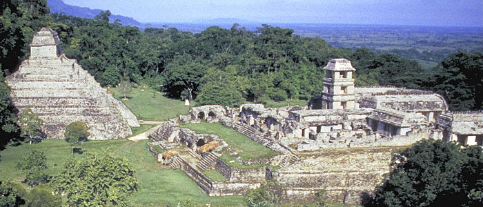 pyramids in mexico. PALENQUE Mexico panorama; part