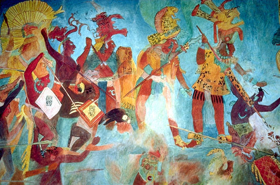 Stock photos mayan frescos rendition bonampak mexico city for El mural de bonampak